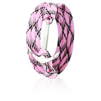 Skipper anchor bracelet wristband in pink/black nylon with silver anchor 6659