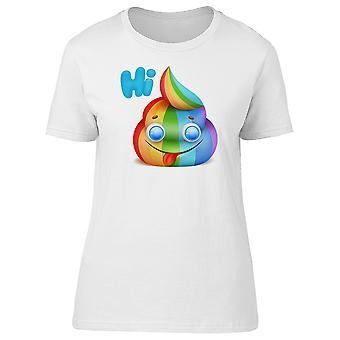 Hi Funny Colorful Rainbow Poopie Tee Women's -Image by Shutterstock