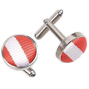 Hvit & rød tynn Stripe mansjettknapper