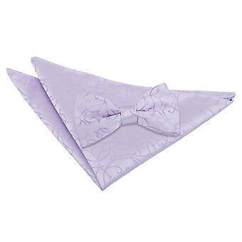 Cravatta a farfalla lilla ricciolo & Set Square Pocket
