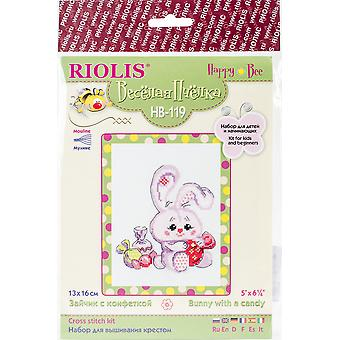 Bunny With A Candy Counted Cross Stitch Kit-5