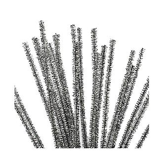 24 Metallic Silver Tinsel Pipe Cleaners for Crafts | Chenille Stems