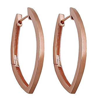Pointed-oval red Creole gold plated Silver earrings 925 sterling silver matt Klapp