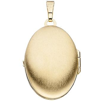Medallion oval 333 gold yellow gold pendant to open