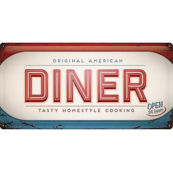 Original American Diner Large Embossed Steel Sign (500Mm X 250Mm)