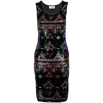 Ladies ärmellos Multi-Aztec Sequin glänzend schlank Fit Partei Damen Bodycon Kleid