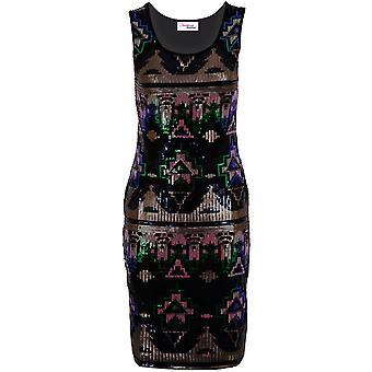 Ladies Sleeveless Multi Aztec Sequin Shiny Slim Fit Party Women's Bodycon Dress