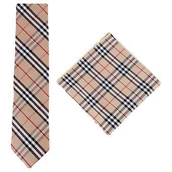 Knightsbridge Neckwear Check Cotton Tie and Pocket Square Set - Beige/Black/Red