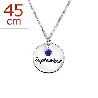 9 月の誕生石 - 925 純銀製宝石ネックレス - W30222x