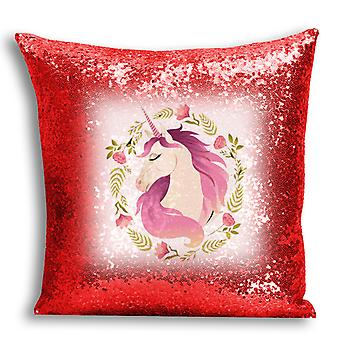 i-Tronixs - Unicorn Printed Design Red Sequin Cushion / Pillow Cover for Home Decor - 9