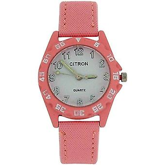 Citron Quartz Analogue Girls - Kids Light Pink Nylon Strap Watch KID135B