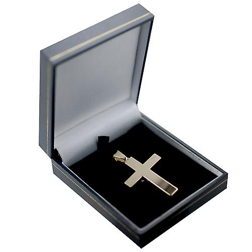 9ct Gold 40x26mm solid block Crucifix Cross with bail