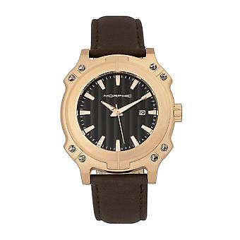 Morphic M68 Series Leather-Band Watch w/ Date - Rose Gold/Brown
