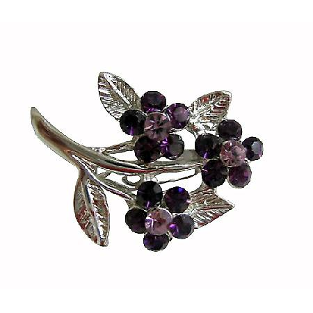 Silver Tone Amethyst Crystal Fashion Flower Bouquet Women Dress Brooch