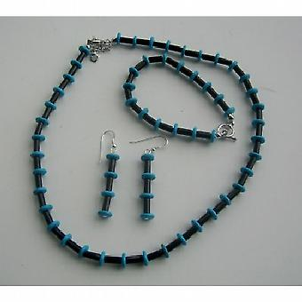 Necklace Onyx Tube And Turquoise Rings Jewelry Set Handcrafted Genuine Bead Jewelry Set w/ Sterling Silver Earrings