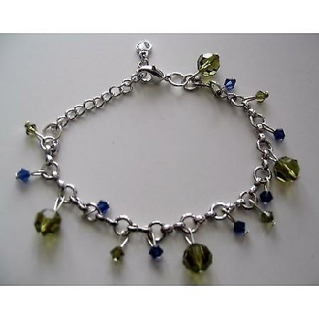 Elegant Formal Bracelet in silver with Genuine Swarovski Tahitan and Sapphire Crystal hanging