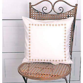 Hossner romantisk pudebetræk broderet landlig stil creme brun CA. 40 x 40 cm