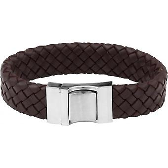 Clio Blue BR2170S-BROWN - Brown steel leather man Bracelet bracelet