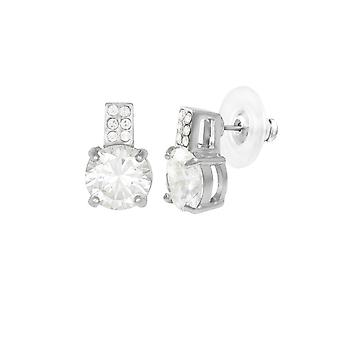 Eternal Collection Caress Clear Crystal And CZ Silver Tone Stud Pierced Earrings