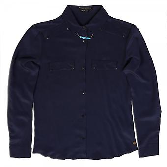Maison Scotch Clean Look Silk Shirt With Native Inspired Necklace (Ink)
