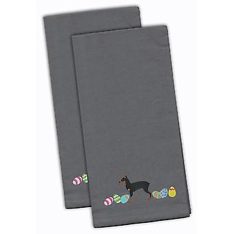 Toy Fox Terrier Easter Gray Embroidered Kitchen Towel Set of 2