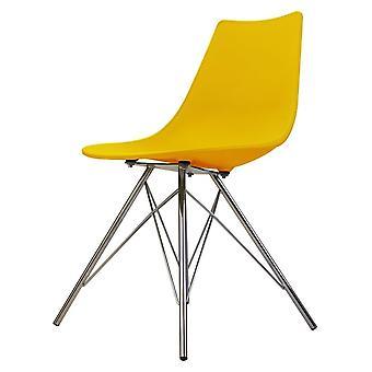 Chaise de salle à manger en plastique jaune iconique de fusion vivante avec des jambes en métal de chrome