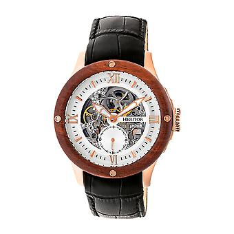 Heritor Automatic Belmont Skeleton Leather-Band Watch - Rose Gold/Silver