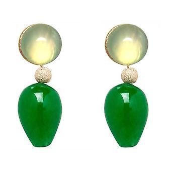 Gemshine øredobber seagreen chalcedony grønne Jade gemstone drop belagt