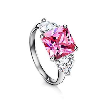 Platinum Plated Pink And White Three Stones Ring