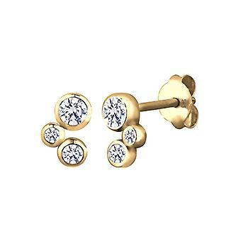 Elli Earrings women's pearl in Silver - Gold 585 with White Cubic Zirconia