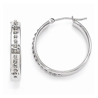 14k White Gold Polished Diamond Fascination Round Hinged Hoop Earrings - .01 dwt - Measures 25x4mm