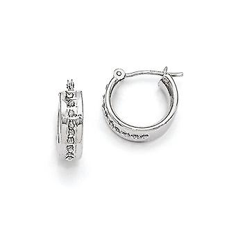 14k White Gold Polished Diamond Fascination Round Hinged Hoop Earrings - .01 dwt - Measures 12x5mm