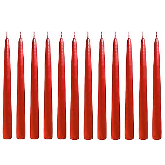 12 Christmas Red Tapered Candles - 25cm Tall - 2.3cm Wide