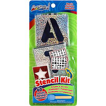 Letters, Numbers & Shapes Stencil Kit 60 Reusable Stencils + Stencil Brush Pa1209