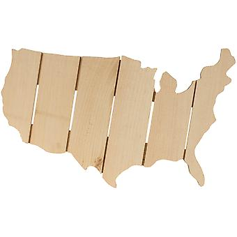 Pine Rustic USA Map- 41213