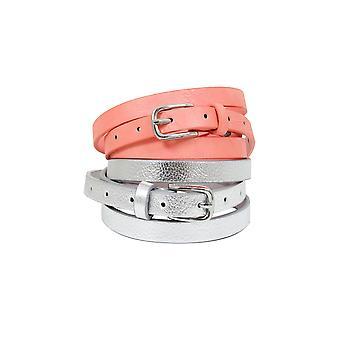 Silver & Coral Skinny Waist Belt - 2 Pack