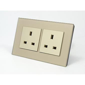 I LumoS AS Luxury Gold Crystal Glass Double Unswitched Wall Plug 13A UK Sockets