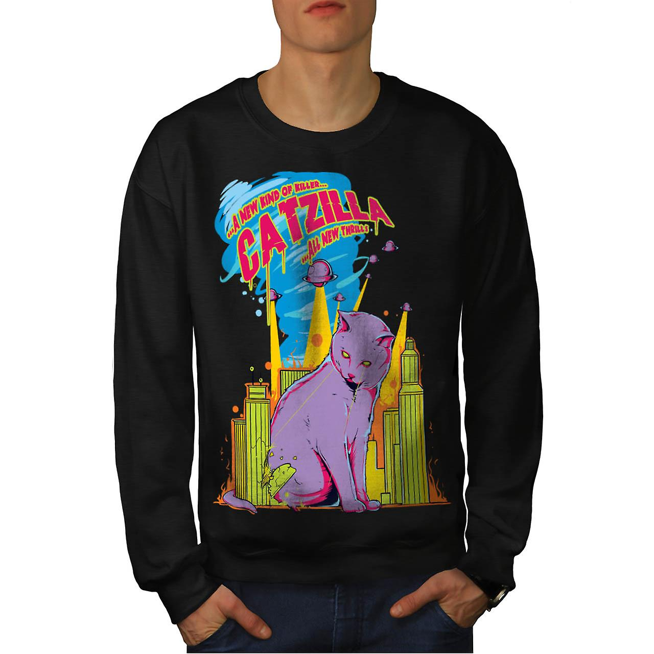 Cat Godzilla Parody Attack Kitty Men Black Sweatshirt | Wellcoda