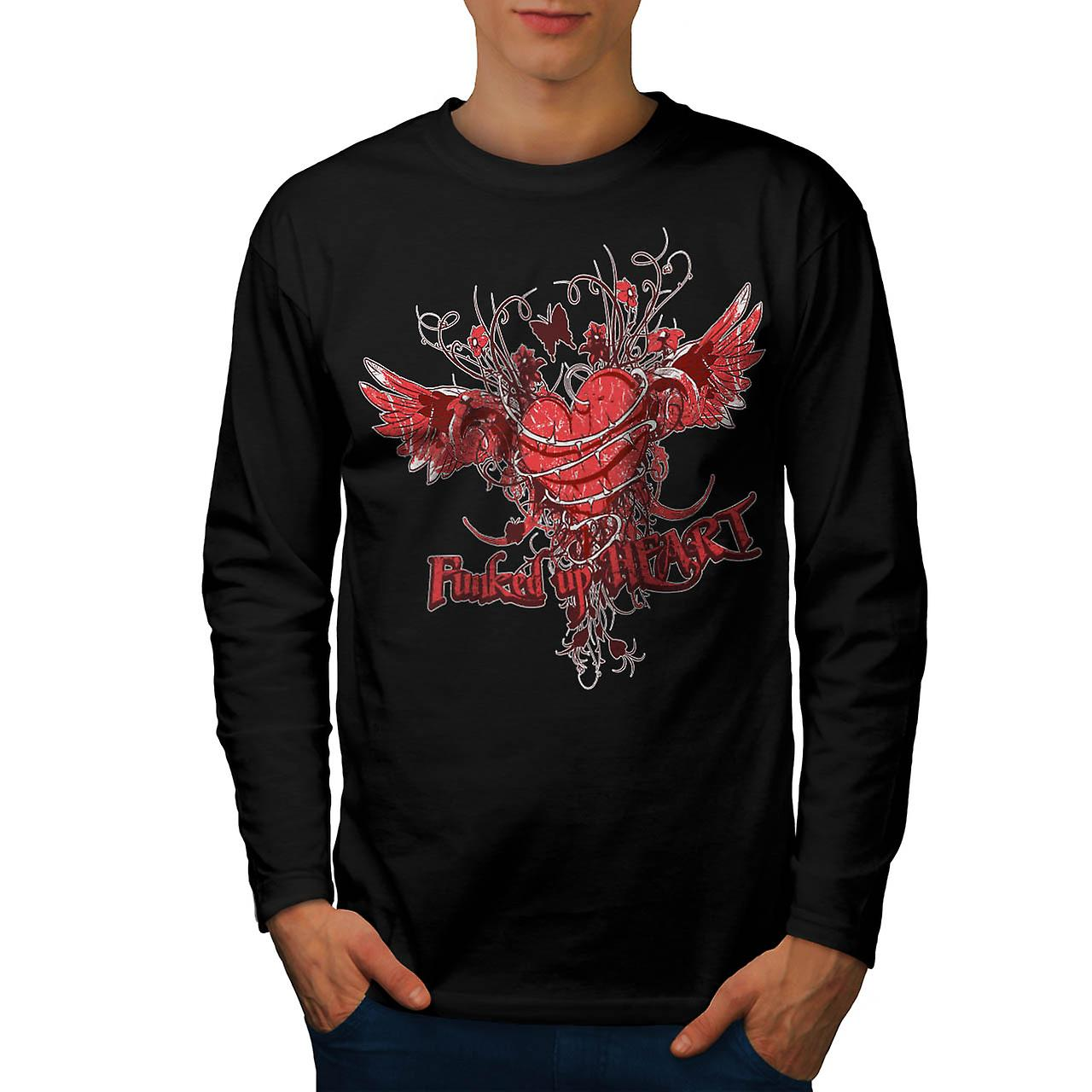Funked Up Heart Love Thorn Rose Men Black Long Sleeve T-shirt | Wellcoda