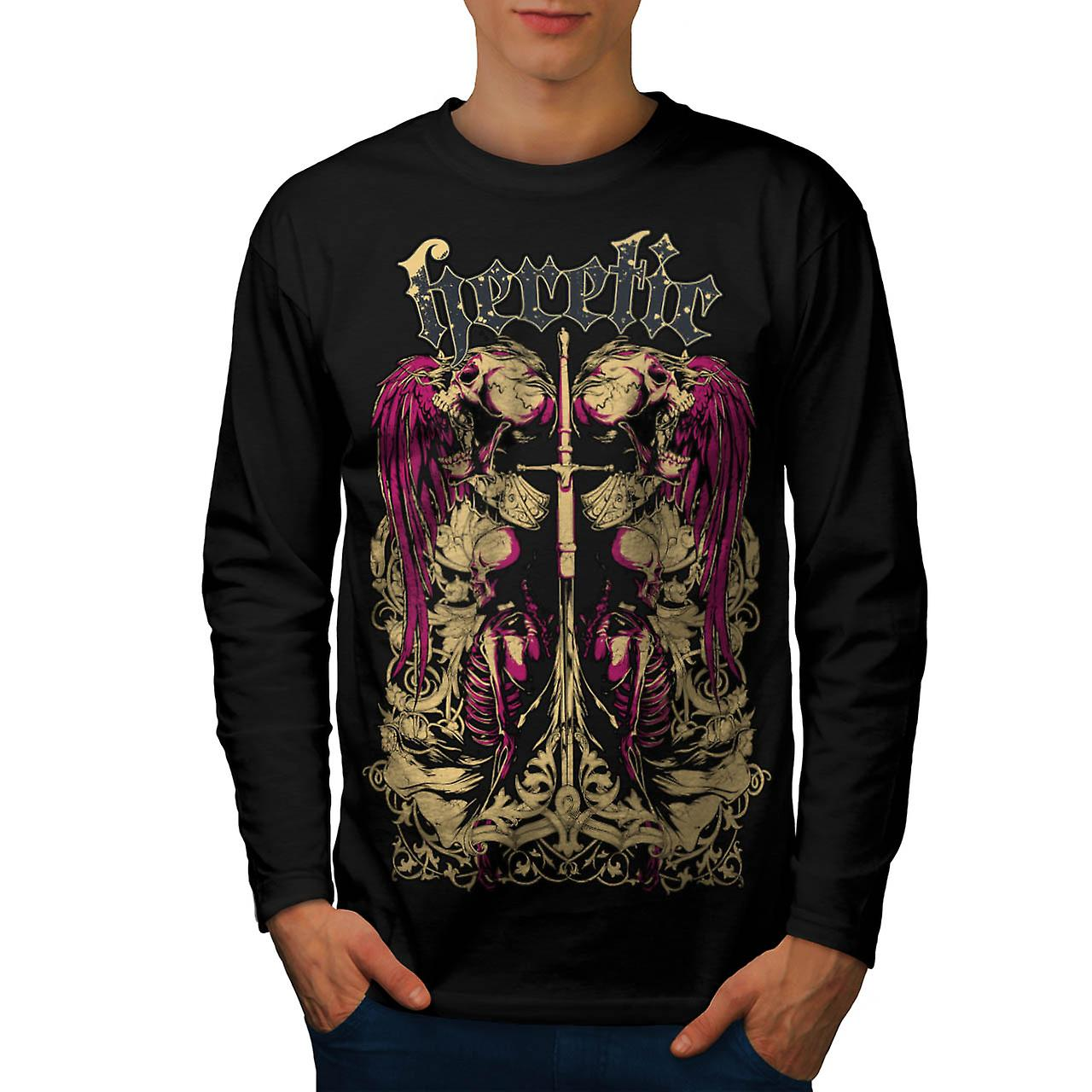 Heretic Monster Death Dead Skull Men Black Long Sleeve T-shirt | Wellcoda