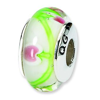 Sterling Silver Polished Antique finish Reflections Green Red Murano Glass Bead Charm