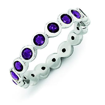 3.5mm Sterling Silver Stackable Expressions February Swarovski Element Ring - Ring Size: 5 to 10