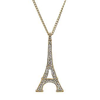 Goldtone Eiffel Tower Rhinestone Encrusted Necklace 27 In. Chain
