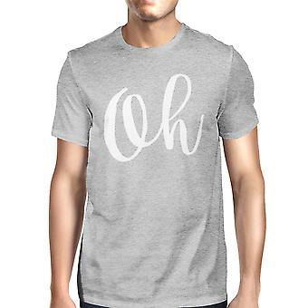 Oh Man's Heather Grey Top Short Sleeve Typographic T-shirt
