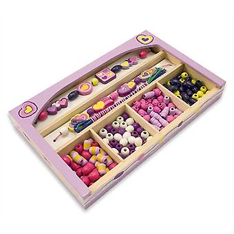 Melissa & Doug Happy Hearts Wooden Bead Set Age 4+ Jewellery Making Set