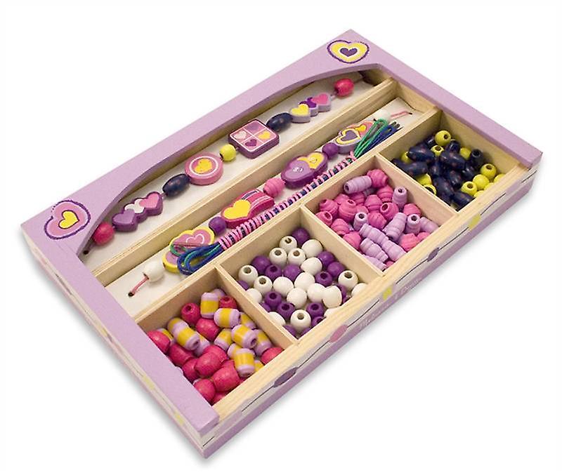 Melissa & Doug Happy Hearts Wooden Bead Set Age 4+ Jewellery Making Set