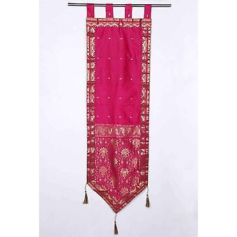Pink - håndlavet vægtæppe væg udsmykning gobelin med kvaster