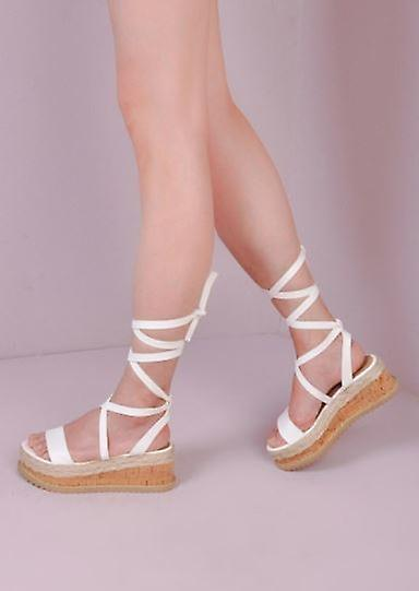 af60c7787d0d Leather Lace Up Braided Cork Wedge Flat Espadrille Sandals White ...