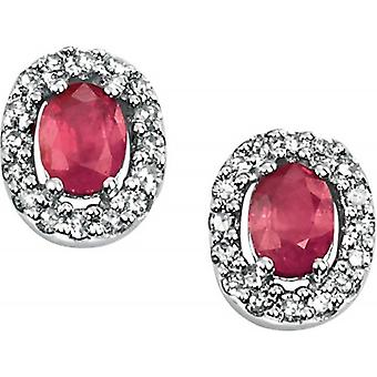 Elements Gold Skylight 9ct White Gold Ruby and Diamond Oval Pave Stud Earrings - Red/White Gold