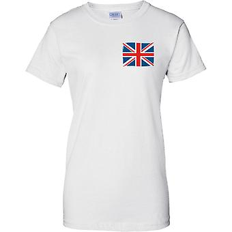 Flag Forenede Kingdon Storbritannien - damer brystet Design T-Shirt